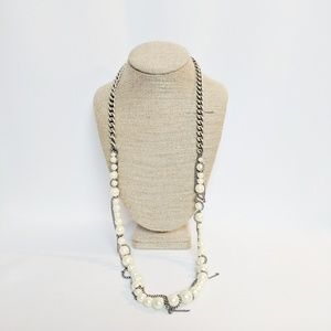Kenneth Cole Silver Wrapped Pearl Necklace